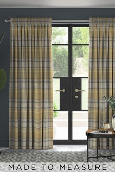 Marlow Check Ochre Yellow Made To Measure Curtains