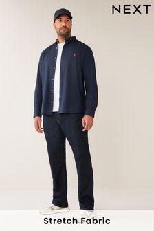 Navy Regular Fit Long Sleeve Stretch Oxford Shirt