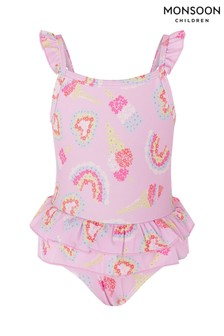Monsoon Pink Baby Rainbow Frill Swimsuit