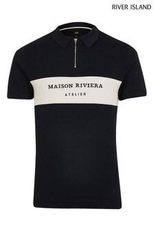 River Island Navy Maison Blocked Poloshirt