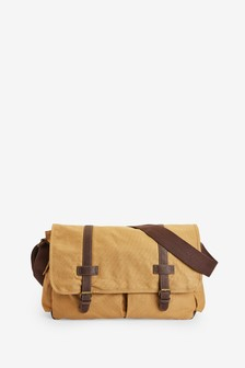Sand Canvas Messenger Bag
