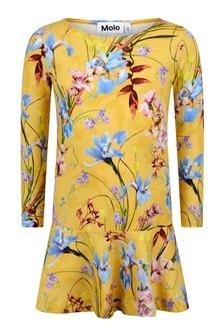 Molo Girls Yellow Organic Cotton Floral Dress