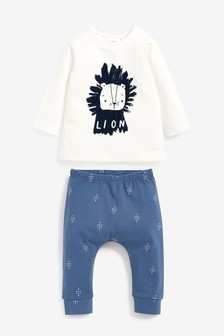 Blue/White GOTS Organic Lion T-Shirt And Leggings Set (0mths-3yrs)