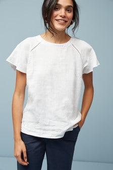 White Short Sleeve Linen Top