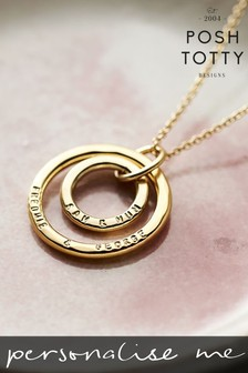 Personalised Mummy And Baby 18ct Yellow Gold Plate Necklace by Posh Totty Designs