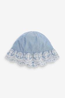 Blue Denim Embroidered Hat (0-18mths)