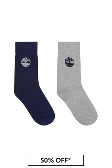 Boys Navy/Grey Socks Two Pack
