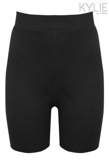 Kylie Black Ribbed Cycling Shorts