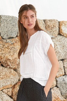 White Broderie Notch Neck Top