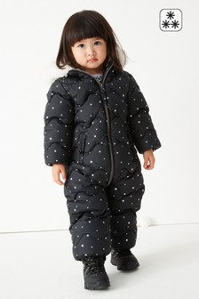 Black Shower Resistant All Over Print Snowsuit (3mths-7yrs)