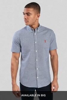 Navy Gingham Short Sleeve Stretch Oxford Shirt