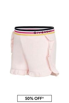 Baby Girls Pink Cotton Blend Shorts