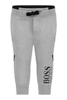 Baby Boys Grey Cotton Logo Joggers