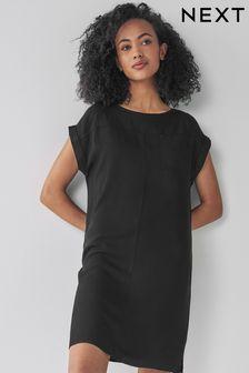 Black Boxy Tee Dress