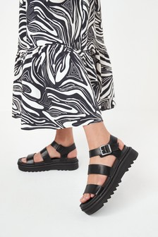 Black Cleat Sole Three Band Sandals