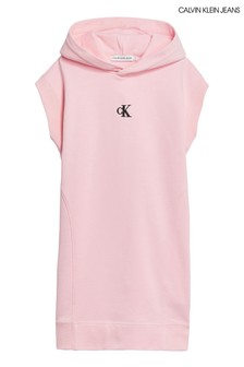 Calvin Klein Jeans Pink Micro Logo Hoody Dress