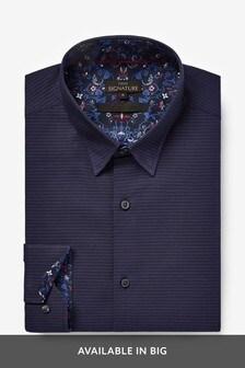 Navy Regular Fit Dot Jacquard Shirt