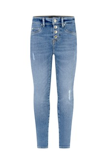 Girls Blue Cotton Skinny Fit Jeans