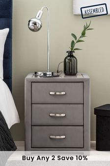 Dark Grey Frankie 3 Drawer Bedside Table With USB Charger