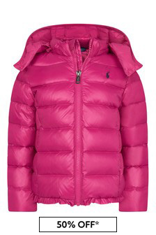 Girls Raspberry Pin Padded Jacket