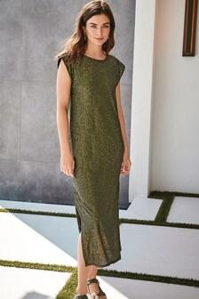 Khaki Sequin Column Dress