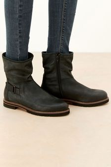 Black Extra Wide Fit Forever Comfort® Leather Weekend Ankle Boots