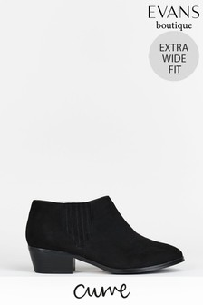 Evans Curve Extra Wide Fit Black Low Ankle Boots