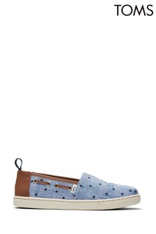 TOMS Navy Chambray Stars Alpargata Shoes