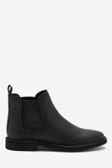 Black Standard Fit (F) Leather Chelsea Boots