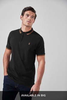 Black/Gold Tipped Regular Fit Polo Shirt