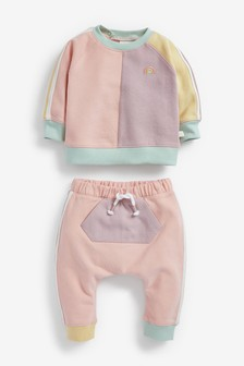 Multi Pastel Colourblock Sweatshirt And Joggers Set (0mths-2yrs)