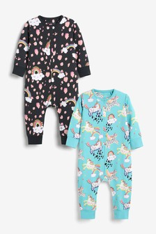 Monochrome/Turquoise Character 2 Pack Jersey All-In-Ones (9mths-8yrs)