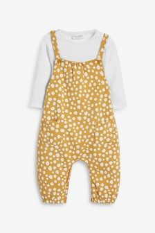 Ochre Spot Dungaree And Bodysuit Set (0mths-2yrs)