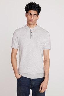 Light Grey Textured Cotton Short Sleeve Polo Top