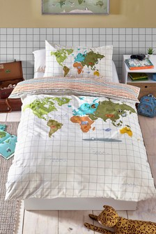 Explorer Map Reversible Duvet Cover and Pillowcase Set