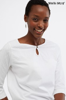 White Stuff White Artist Embroidered Jersey Blouse