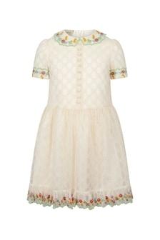 GUCCI Kids Girls Cream Dress