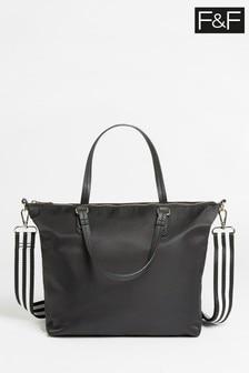 F&F Black Utility Nylon Slouch Tote Bag