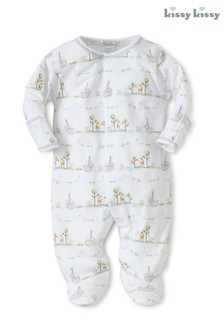 Kissy Kissy Blue Noah's Animals Babygrow