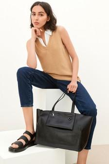 Black Pocket Detail Tote Bag