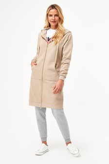 Taupe Zip Through Longline Jacket