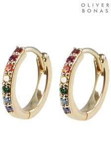 Oliver Bonas Rainbow Stone Inlay Gold Plated Huggie Earrings