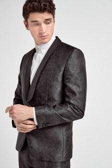 Black Slim FIt Tuxedo Suit: Jacket