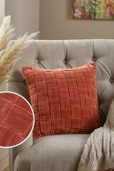 Orange Chunky Velvet Weave Cushion