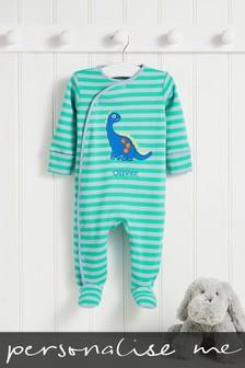 Personalised Green Stripe Dinosaur Sleepsuit