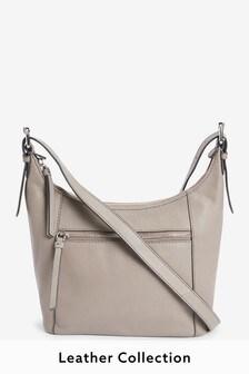Grey Leather Zip Across Body Bag