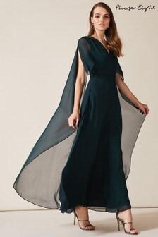 Phase Eight Blue Arwen Silk Drape Dress