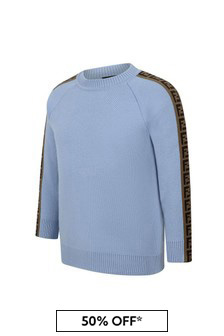 Kids Blue Wool Logo Trim Sweater