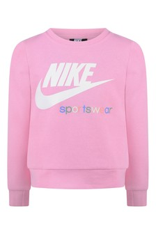 Girls Pink Cotton Logo Sweatshirt