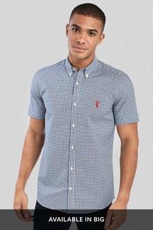 Navy Gingham Short Sleeve Slim Fit Stretch Oxford Shirt